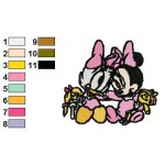 Baby Daisy Duck With Baby Minnie Mouse Embroidery Design