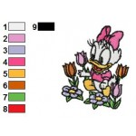 Baby Daisy Duck With Flowers Embroidery Design