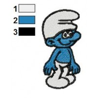Clumsy Smurf Embroidery Design