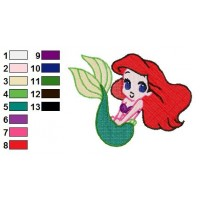 Disney Princess Ariel Embroidery Design
