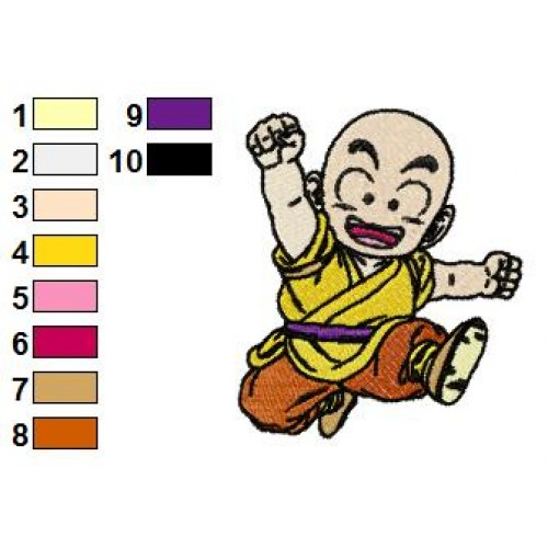 Kid Krillin Dragon Ball Z Embroidery Design