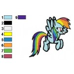 Rainbow Dash Runing Embroidery Design